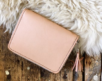 Natural Leather Wallet // Zip Wallet // Ladies Wallet // Women's Wallet // Leather Card Holder