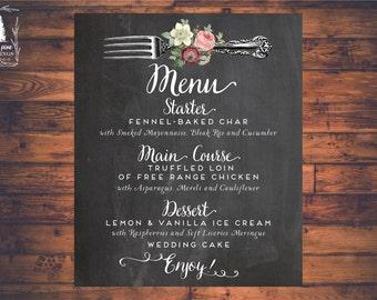 PRINTABLE Wedding Menu, Wedding Dinner Menu, Rustic Menu, Chalkboard Menu, Botanical Print, Marsala and Blush, blush wedding, burgundy