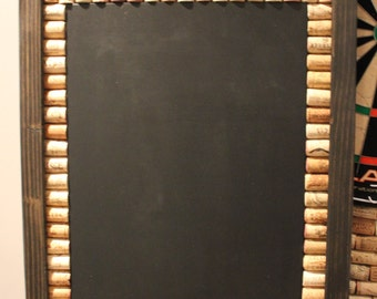 Made to Order - Wine Cork Chalkboard with Ebony Frame   Framed Chalkboard   Game Room Décor   Kitchen Decor   Message Board