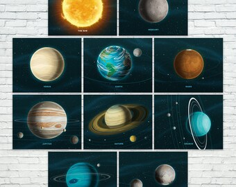 "Our Solar System Prints - Set of 10 (10""x8"")"