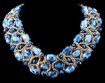 Blue & gold bohemian choker necklace