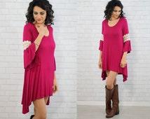 Fuschia Tunic Dress/Spring Tunic Dress