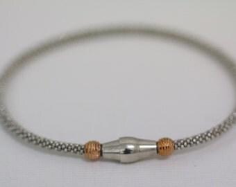 Sterling Silver Rose Gold Plated Beaded Mesh Bracelet, Bangle