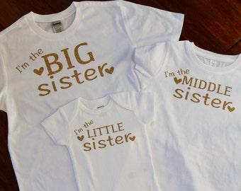 Big sister shirt, little sister shirt, middle sister shirt set, sister shirts, big sister shirt, little sister shirt, middle sister shirt,