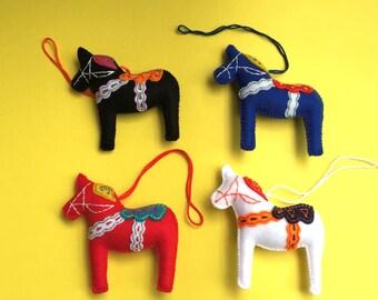 Dala Horse, Felt Dala Horse, Red Dark Blue Black White Dala Horse, Swedish Horse, Scandinavian Horse, Swedish Souvenir