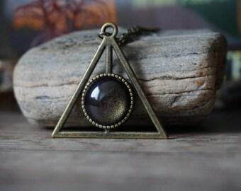 Deathly Hallows bronze necklace