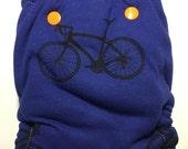 Bike print hybrid fitted cloth diaper OG one size