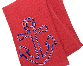 Red, white, and blue nautical anchor hand towel, anchor kitchen decor, nautical embroidered personalized hand towels, kitchen towel