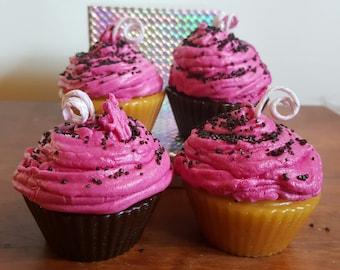 Cherry Bomb Cupcake Candle