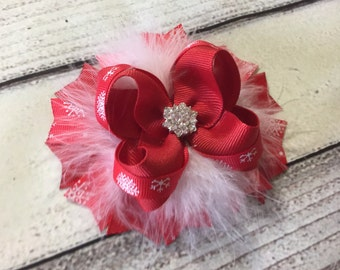 Red Christmas Hair Bow Christmas Hair Bow Red Hair Bow Christmas Boutique Hair Bow Holiday Hair Bows Snowflakes hair Bow