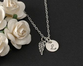 Sale Wing and initial necklace, sterling silver tiny wing jewelry