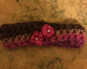 Pink and brown baby girl headband