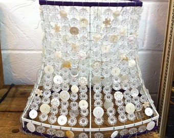 Vintage button lamp, upcycled lampshade,