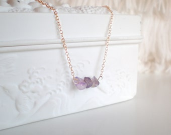 Raw Amethyst Gold Necklace / 14K gold vermeil / Raw Gemstone Necklace / Small Delicate Necklace / Raw Stone Layered Necklace / Amethyst