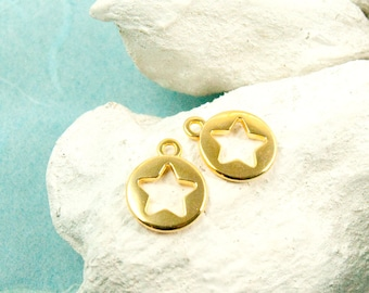 4x Star pendant 10mm Gold plated #3598