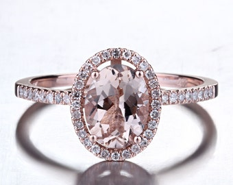 Oval Morganite Ring, Diamond Halo Rose Gold Morganite Engagement Ring, Rose Gold Morganite Ring, Diamond Halo Morganite