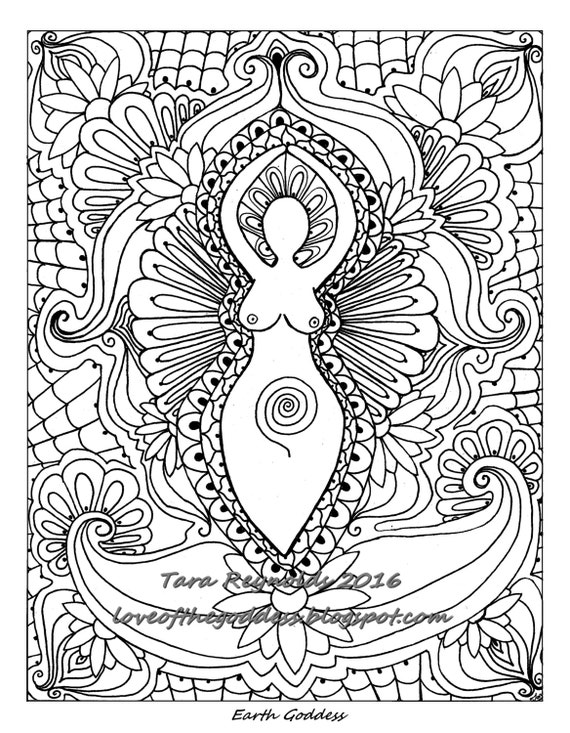 Adult Coloring Page Goddess Art Print Book Pagan Printable Gift For Her