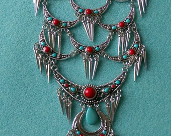 Spiked Necklace, Silver, Boho, Disc, Statement, Gypsy, Turkish, Tribal, Turquoise, Ruby, BIB, Sterling, Ancient Roman