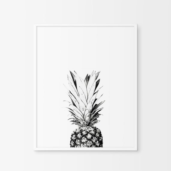 Black And White Kitchen Artwork: Pineapple Wall Print Pineapple Print Art Kitchen Wall