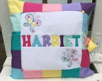 Personalised Patchwork NAME Cushion * paisley butterfly polka dot * pink purple blue turquoise yellow green pastel brights *