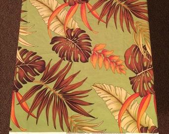 Tropical Hawaiian print Fabric. Trendtex Fabric. Orange. Brown and Olive green. Palm leaves. Designer fabric.
