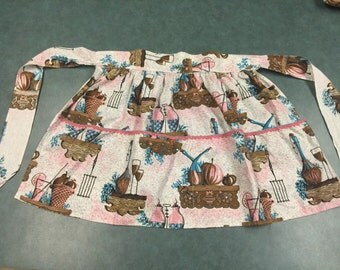Vintage Apron with Mid Century fabric!!  Fruits, lemonade, wine. So cute in pink and brown.