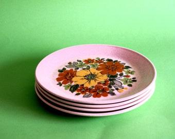 Retro Vintage 70s Johnson of Australia - Floral Pattern Side Plates - Daisy - Poppy - Sunflower Small Plates - Flower Power - Set of Four