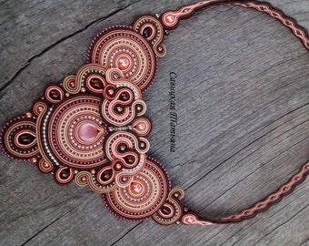 Elegant Terracotta Soutache Necklace - Hand Embroidered Soutache Jewelry - Terracotta Soutache Jewelry