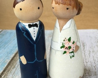 Custom Peg Dolls Bride & Groom Wedding Cake Topper Personalised couple wooden hand painted bridal Gift can do Bridesmaids + Party customised