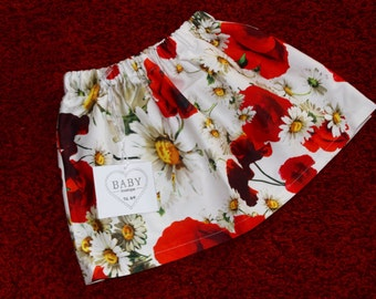 Girl's skirt, 100% cotton Fabric fashion, white background, red poppies and daisies, poppies dress