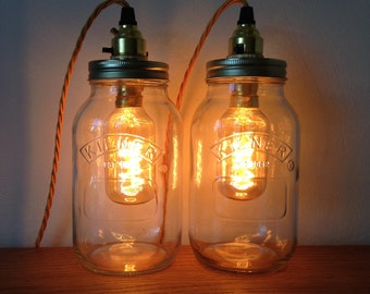 Mason jar table lamp set of 2 with vintage bulbs