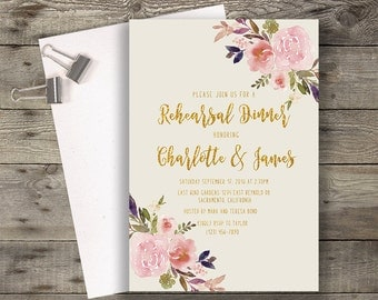 Floral Rehearsal Dinner Invitation Printable Boho Chic Rehearsal Dinner Party Invitation Suite Bohemian Rehearsal Invite Gold Typography