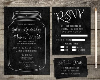 Printable or Printed Chalkboard Rustic Calligraphy Wedding Invitation \\ RSVP Card Save the Date Card \\ 5 x 7 Invitation Kit \\