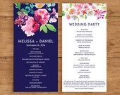 Printable Wedding Program Template | Floral Ceremony Program | Watercolor flower | Flower | Navy and Pink | Modern | Ceremony Program