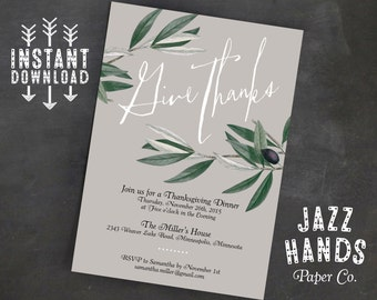 Thanksgiving Invitation Template   DIY Printable   Thanksgiving Feast   Thanksgiving Dinner Invite   Thanksgiving Party