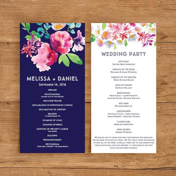 Printable Wedding Program Template | Floral Ceremony Program ...
