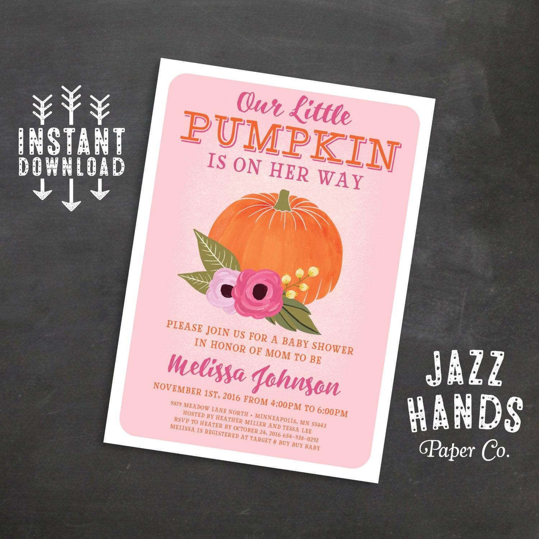 Pumpkin Baby Shower Invitation, girl baby shower invite, baby ...