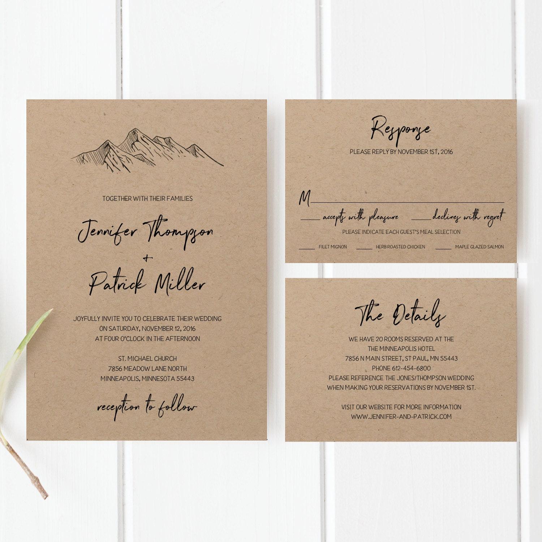 printable wedding invitation template set mountain wedding