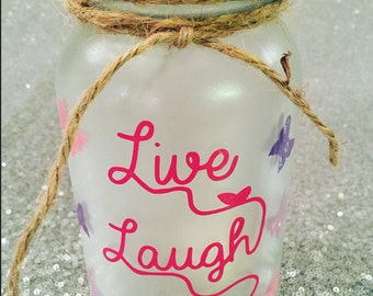 Live Laugh Love, Inspirational Quotes, Decorative Mason Jar, Nightlight, Mason Jar Night Light, Home Decor