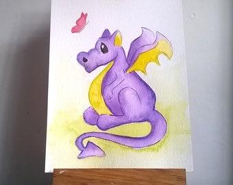 Purple Dragon, Original Watercolour Painting, cute dragon art, Whimical Dragon, Mythical Creature art, Nursery Room Art, dragon illustration