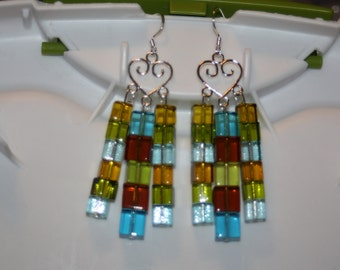 Glass Square Earrings