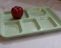 Vintage Divided Cafeteria Tray, Compartment Tray, 2 Divided Plate Set, Retro Lunch Room Tray, Plastique