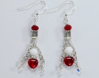 Red & White Earrings, Glass, Pewter, Silver Plated Earrings