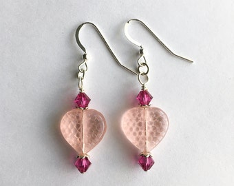 Pink Heart Earrings, Swarovski Crystal & Glass earrings