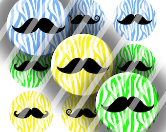 Digital Bottle Cap Collage Sheet - Zebra Mustache - 1 Inch Circles Digital Images for Bottlecaps