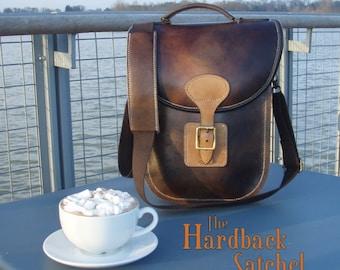 Hardback Satchel, hand stitched, messenger bag, cross body,  full grain veg tan leather