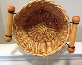 Large Round Wooden Wicker Basket With Handles/ Towel Basket/  Magazine Holder