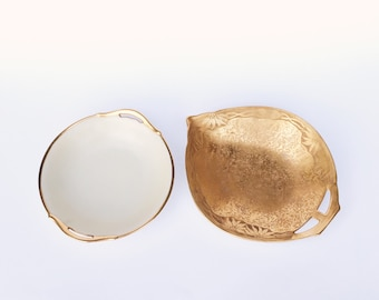 Handmade Porcelain Serving Bowls, Set of 2, Signed Latham, Vintage Ceramic Gold Leaf and Iridescent Design