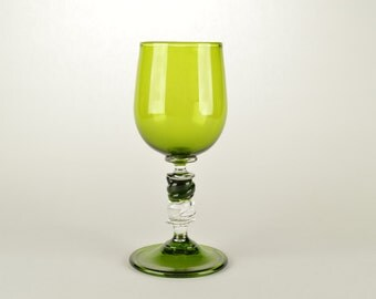Handblown Glass Goblet Green/Clear