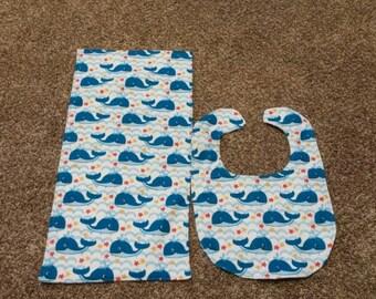 Whales bib and burp cloth set.
